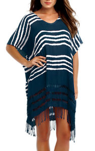 Seafolly Utopia Stripe Kaftan: Crafted from beautifully soft lightweight jersey for a cooling appeal, the Splendour Kaftan from Seafolly is cut to a relaxed fit and boasts a softly-shaped v-neckline, extended kaftan-style sleeves and tassel trimming to finish. Slip on over your most loved swimwear for an effortless beach to beach bar transition. + Miami striped print detail Seafolly kaftan + Diamond cut outs along hem + Ombre colour from top to bottom